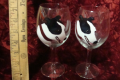 Wine Glasses with Painted Dogs