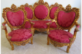 BAROQUE CHAIRS AND LOVE SEAT RED